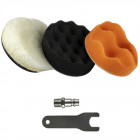 Kit polidora pneumática para faróis 75mm + oferta 3 esponjas